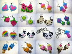 Perler Jewelry: hearts, watermelon, arrows, strawberry, sweets, panda, ice cream.