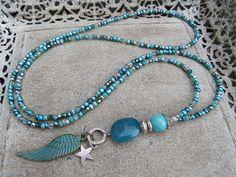 Charm- & Bettelketten - Coole lange Bettelkette * Hippes Styling * Türkis - ein Designerstück von Perlenzimmer bei DaWanda