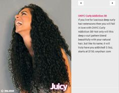 Woo hoo! ONYC Curly Addiction 3B just stole ONYC's Kinky Curly spotlight in Juicy Mag Online by being voted as one of the top extension textures for curly girls this summer. ‪#‎onyc‬ ‪#‎onychair‬ ‪#‎onyccurlyaddiction3b‬ ‪#‎juicymagazine‬ ‪#‎summercurls‬  To read more about ONYC Curly Addiction 3B textures go here http://onycworld.com/?p=7138