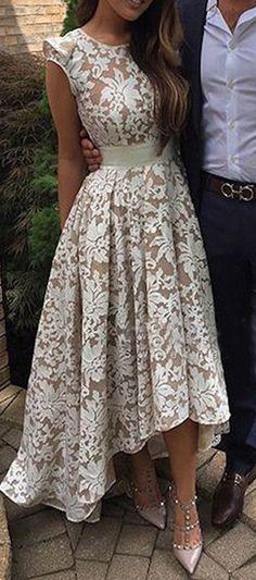 Elegant A-Line Scoop Sleeveless Sash Hi-Lo Lace Prom Dress prom,prom dress,prom dresses,prom gown,prom gowns,long prom dress,2017 prom,fashion,women's fashion
