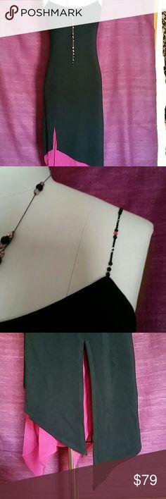 $10 if BUNDLE Kay Unger evening dress Beaded shoulder straps. Asymmetrical hem w/ fushia chiffon strips. Kay Unger Dresses