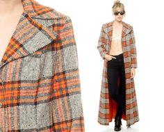 Plaid Wool Coat 70s Long Jacket Grey Orange Checkered by ShopExile