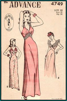 Advance 4749-1947 Vintage Sewing Patterns Advance 1940s Nightgowns Lingerie Ruffles Lace Insertion Bow Lace Bands Ribbon Bow Beadings Embroidery Ruffle