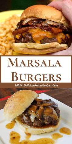 All Food and Drink: Marsala Burgers Hamburger Recipes, Beef Recipes, Cooking Recipes, Good Burger, Burger Buns, Oven Burgers, Hamburgers, Cheeseburgers, Marsala