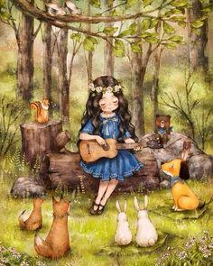 작은 연주회 (http://grafolio.com/illustration/160458)  #일러스트 #일러스트레이션 #우쿨렐레 #소녀 #숲…