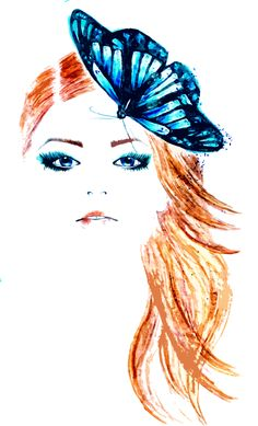 Blue butterfly fashion illustration