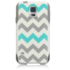 Samsung Galaxy S5 Hybrid Case Chevron Grey Teal #Unnito [ Unnito.com ]