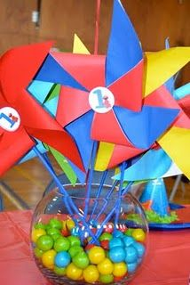 Use mason jars and fill with baby snacks (puffs, yogurt melts, etc. Elmo First Birthday, First Birthday Parties, First Birthdays, Birthday Ideas, Sesame Street Party, Sesame Street Birthday, Pinwheel Centerpiece, 1st Birthday Centerpieces, Party On Garth
