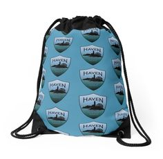 Haven Syfy Inspired Drawstring Bag | Haven Keep Calm Blue Badge Logo