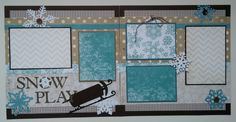 This is a two page premade scrapbook layout page. Each page measures 12x12. There are 5 photo mats on this layout. Three mats will hold 3.5x5