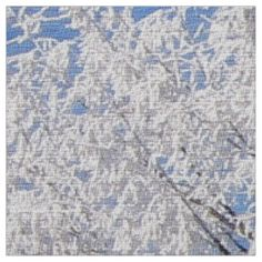 in snow, white trees in winter fabric