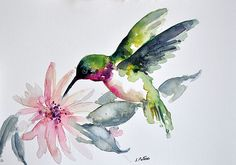 ORIGINAL Watercolor Bird Painting, Green Flying Hummingbird with a Pink Flower 6x8 Inch