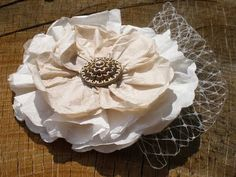 Recycled coffee filter flower, would be a great hair piece, or on a wedding veil. or with a nice sparkly pin, would make great corsages for moms and grandmoms! Flower Diy, Paper Flowers Diy, Flower Ideas, Flower Making, Coffee Filter Flowers, Coffee Filters, Repurpose, Reuse, Diy Online