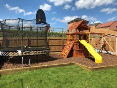 Kids Play Spaces, Kids Play Area, Front Yard Garden Design, Backyard Trampoline, Trampoline Ideas, Outdoor Play Areas, Backyard Play Areas, Outdoor Play Structures, Playground Design