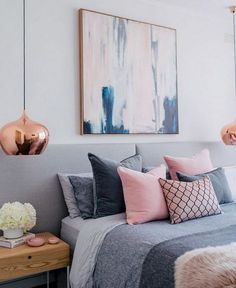 grey pink blue bedroom blush white and grey bedroom inspiration loft bedroom and. - Pink Bedroom For Teens grey pink blue bedroom blush white and grey bedroom inspiration loft bedroom - Home Decor Bedroom, Bedroom Inspirations, Blue Bedroom, Bedroom Themes, Gold Bedroom, Bedroom Loft, Blush Bedroom, Home Decor, Home Bedroom