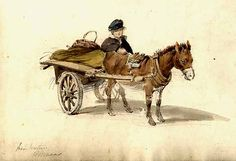 [Boy and his donkey and cart] by Brocas, William, ca. 1794-1868