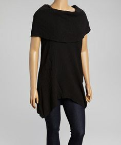 Look what I found on #zulily! Black Cowl Neck Top - Plus by Come N See #zulilyfinds