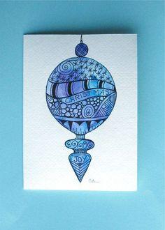 Watercolor card, ( No.228), Christmas card, Christmas ornament, greeting card, Christmas, ornament, holiday, original art,blank inside