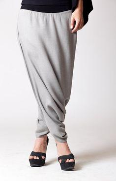 Gray textured Cotton Harem Skirt Pants, Royal Design