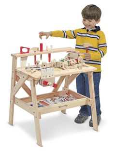 Buy Melissa & Doug Wooden Project Workbench from BrightMinds. Leading UK Online Educational Kids Gifts and Childrens Toy Shop for Melissa & Doug Wooden Project Workbench Workbench Plans Diy, Workbench Top, Folding Workbench, Workbench Organization, Workbench Designs, Industrial Workbench, Woodworking Workbench, Toddler Workbench, Toys For Little Kids