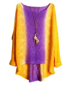 Ethnic Colored High Low Hem Pullover