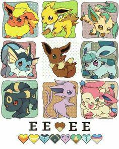 Eevee evolutions, Flareon, Jolteon, Leafeon, Vaporeon, Glaceon, Umbreon, Espeon, Sylveon, text, cute; Pokémon