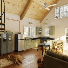 Similar to our cabin with clear pine ceiling, whitewashed pine walls, wide plank wood floor. Google Image Result for http://st.houzz.com/fimgs/36b13c150f493ff2_0793-w394-h394-b0-p0--eclectic%2520family%2520room.jpg