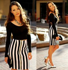 Nasty Gal Black Crop Top, Nasty Gal Stripe Skirt, Shoe Dazzle Silver Heels, Merrin And Gussy Silver Necklace