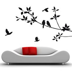 Black Tree And Bird Sitting Room Wall Stickers Removable Mural Art Decal : Animal Themes And Concepts For Interior Designs Ideas By Applying Wall Painting Black Birds Decal Arts For Indoor Spaces Gallery Black Wall Stickers, Kids Room Wall Stickers, Bird Wall Decals, Removable Wall Stickers, Bird Silhouette Art, Black And White Living Room, Black White, Black Tree, Smooth Walls