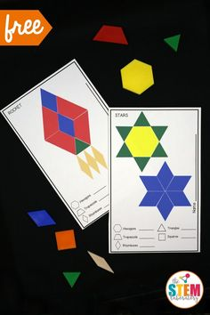 Free outer space pattern block mats! Such a fun space activity for preschool or kindergarten. Perfect for a math center.