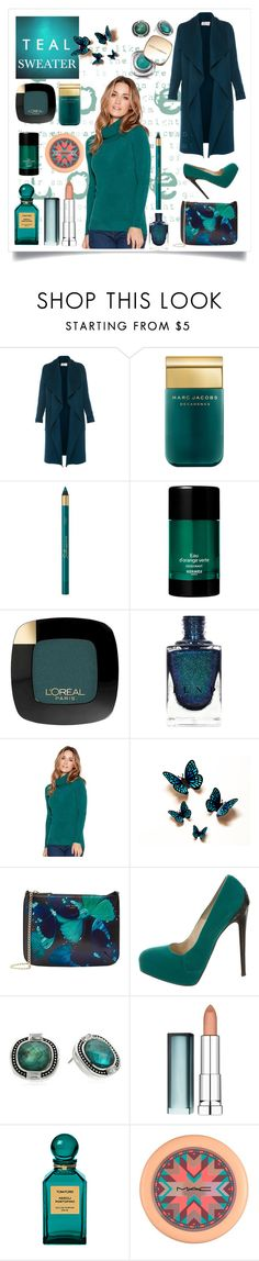 """""""Winter Chic in Teal"""" by shaheenk ❤ liked on Polyvore featuring L.K.Bennett, Marc Jacobs, L'Oréal Paris, Hermès, M&Co, Ted Baker, Brian Atwood, Napier, Maybelline and Tom Ford"""