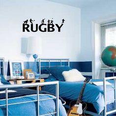Rugby Wall Decal amovible Rugby Wall Sticker lettrage du garçon