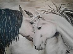 Whisper Huile sur toile galerie x Les Oeuvres, Horses, Whisper, Animals, Oil On Canvas, Hush Hush, Animales, Animaux, Animal