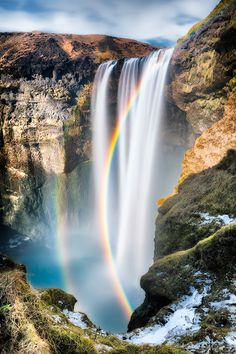 ~~There was that which endures and so the other is not enough ~ dazzling double rainbow in an illuminated waterfall, Skogafoss, Iceland by Eddie Lluisma~~