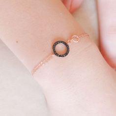 Black Pave Hoop Rose Gold Bracelet - bracelets & bangles