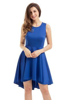 383b8c070c Royal Blue Pleated Hi-low Hem Skater Dress