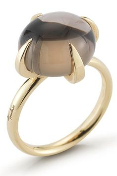 stunning - Vintage Pomellato Smoky Quartz 18K Yellow Gold Ring