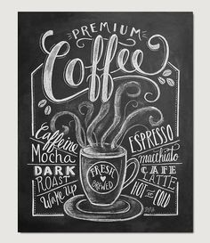 Coffee Shop Decor Coffee Print Coffee Illustration by LilyandVal - perfect for our kitchen drink station :) - $19