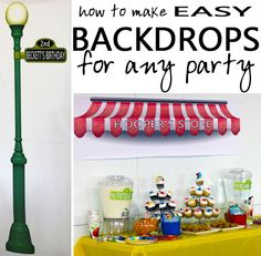 Easy instructions for creating inexpensive DIY backdrops for any party - they are essentially giant coloring book pages!  These backdrops were for a Sesame Street themed birthday, but the same method could easily be used to large animal backdrops for a jungle themed party, fish and coral for an under the sea party, or life size princesses for a tea party. {blue i style}