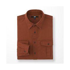 MEN Twill Work Long Sleeve Shirt Dark Orange - Uniqlo