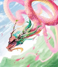 Pink dragon by Cute Fantasy Creatures, Mythical Creatures Art, Magical Creatures, Creature Drawings, Animal Drawings, Mystical Animals, Pink Dragon, Dragon Artwork, Dragon Pictures