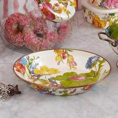 Flower Market Pie Plate - White