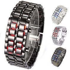 Men's Watches Digital Watches Tike Toker Fashion Black Full Metal Digital Lava Wrist Watch Iron Metal Red Led Samurai For Men Boy Sport Simple Wathes 07 In Short Supply