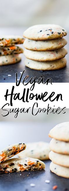 Cookies These vegan Halloween cookies are easy to make, don't need to chill, and are a cute dairy-free Halloween treat.These vegan Halloween cookies are easy to make, don't need to chill, and are a cute dairy-free Halloween treat. Cookies Healthy, Vegan Sugar Cookies, Healthy Vegan Snacks, Vegan Treats, Vegan Foods, Vegan Dishes, Healthy Desserts, Vegan Recipes, Easy Vegan Cookies