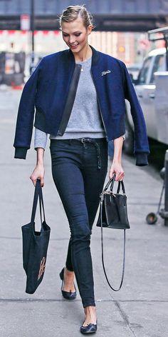 Karlie in her custom rag & bone jacket. #offduty in NYC. #KarlieKloss