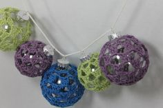 Crochet Covered Large Clear Glass Ornament Bright Blue