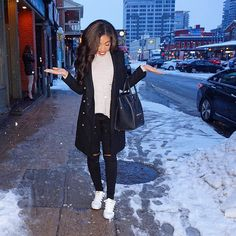 winter outfit inspiration- fall outfit inspiration - street style - street chic style - casual outfits - snow day outfit - zara coat - zara military coat - black coat gold buttons - adidas superstars - nordstrom bp outfit - celine mini luggage - amynicolaox