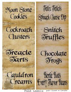 Harry Potter Food &Drink Labels