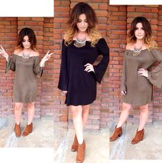 ✨New inventory Dollz✨ Off the shoulder baby doll dress only $17.99✨comes in olive green & black✨ sizes (s,m,l)✨All new accessories $12.00 & under✨ And were obsessed with our new fringe booty boots $32.00 (brown suede only) sizes (5 1/2-10) ✨ #shopsugardollz #sugardollz #newinventory#dresses #jewelry #accessories #fashion #igfashion #style #stylish #igclothes #clothes #rompers #boots #fringe #getthelook #youwantit #wegotit #onestopshop #fashionforward #canyonlake #canyonhills #wildomar…