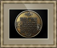 """Patek Philippe Geneve Commemorative Medal Coin (Back) // Paper: enhanced matte; Glazing: acrylic; Moulding: silver, providence silver; Top Mat: tan, taupe; Middle Mat: brown, pewter; Bottom Mat: tan, thatch // Price starts at $210 (Petite: 22.5"""" x 24.5""""). // Customize at http://www.imagekind.com/Patek-Philippe-Geneve-PPG_art?IMID=052985c0-deff-40d6-9371-16068992094d"""